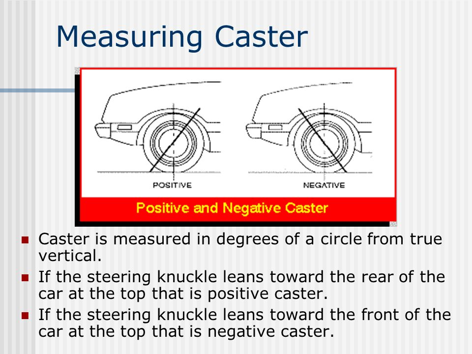 Measuring Caster Caster is measured in degrees of a circle from true vertical.