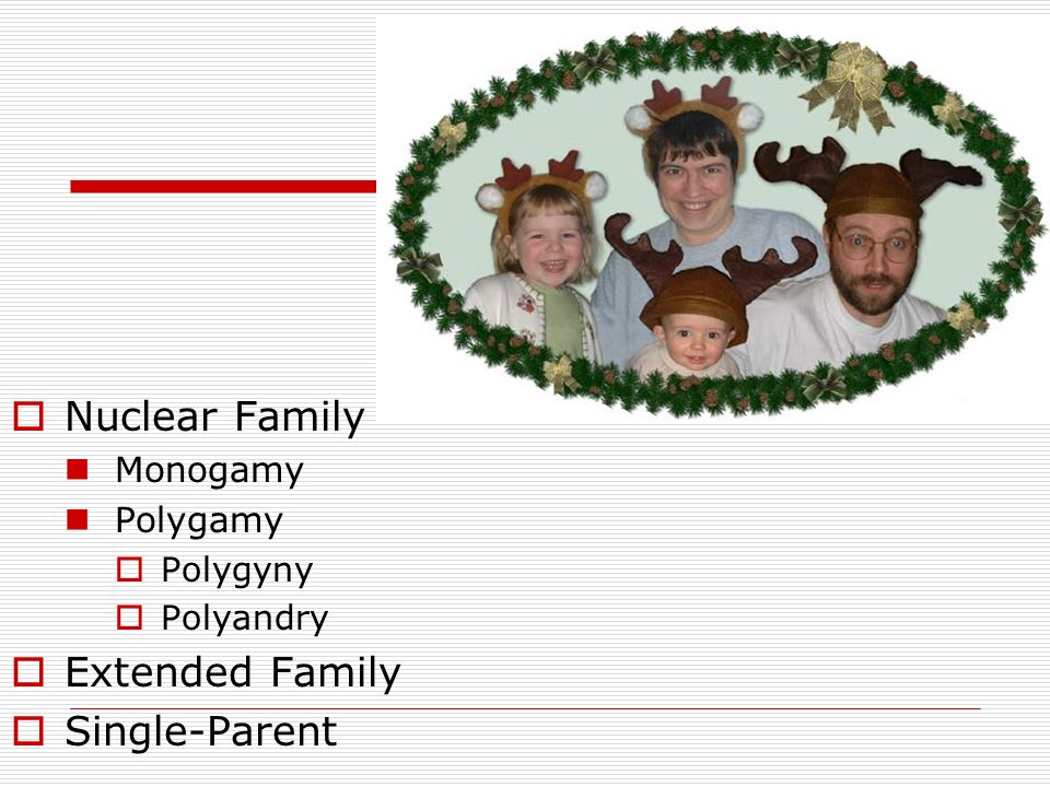 Nuclear Family Extended Family Single-Parent Monogamy Polygamy
