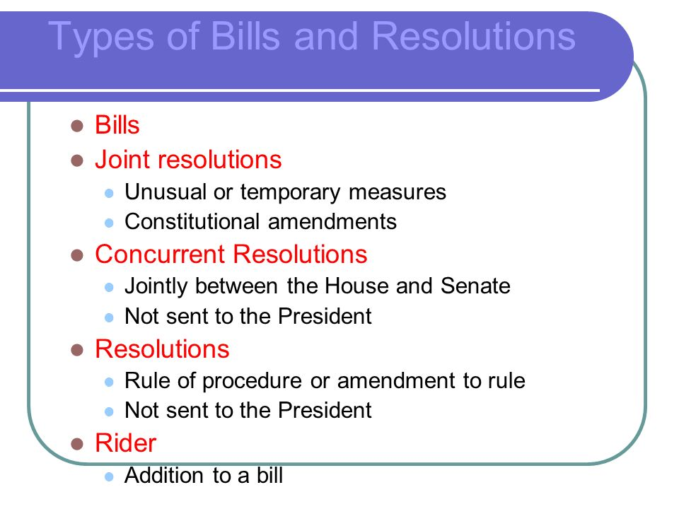 Types of Bills and Resolutions