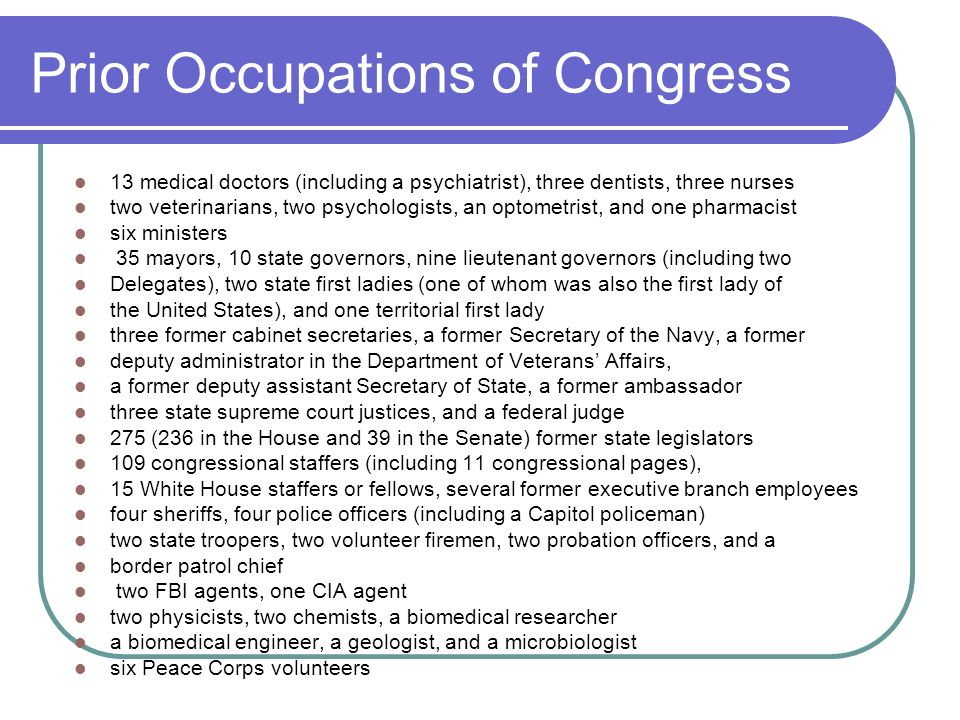 Prior Occupations of Congress