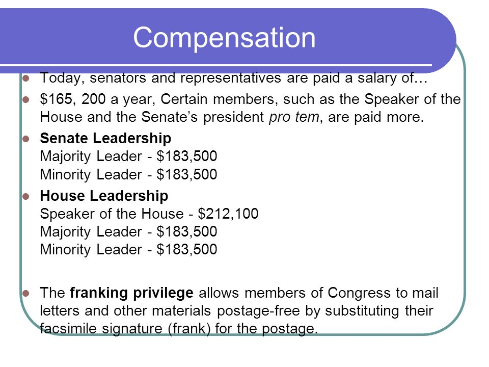 Compensation Today, senators and representatives are paid a salary of…