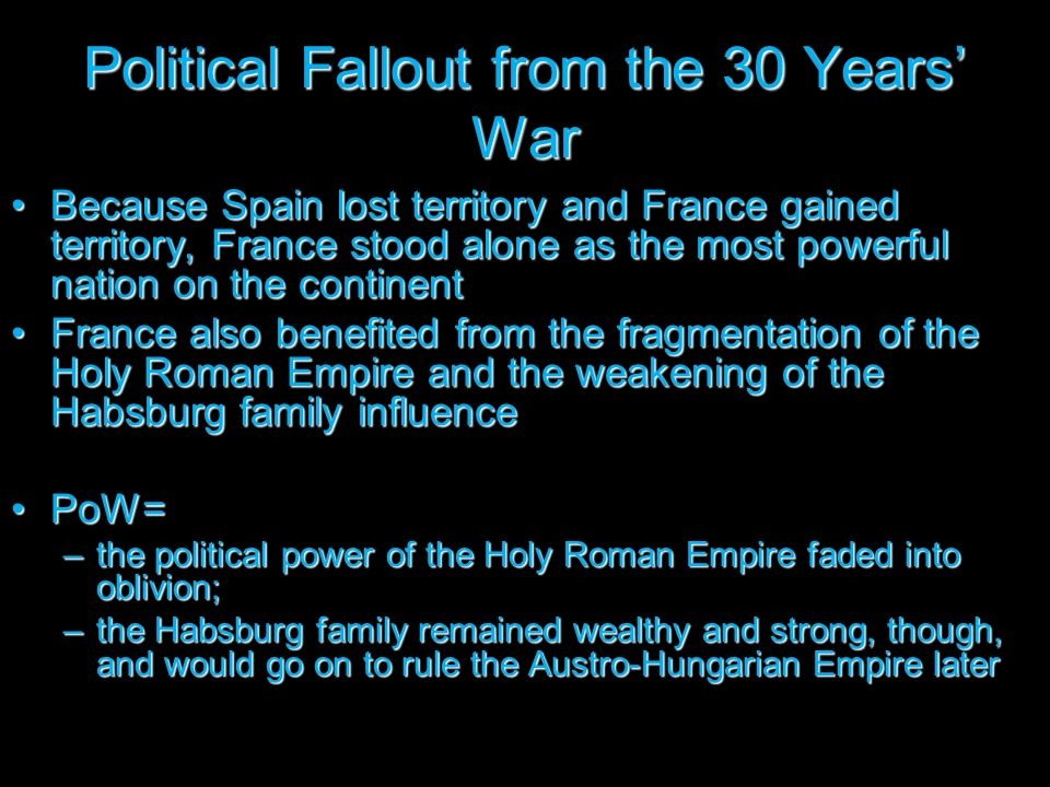 Political Fallout from the 30 Years' War