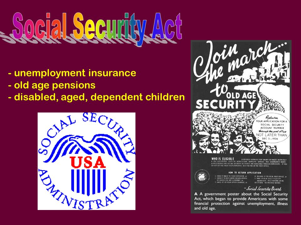 Social Security Act - unemployment insurance old age pensions