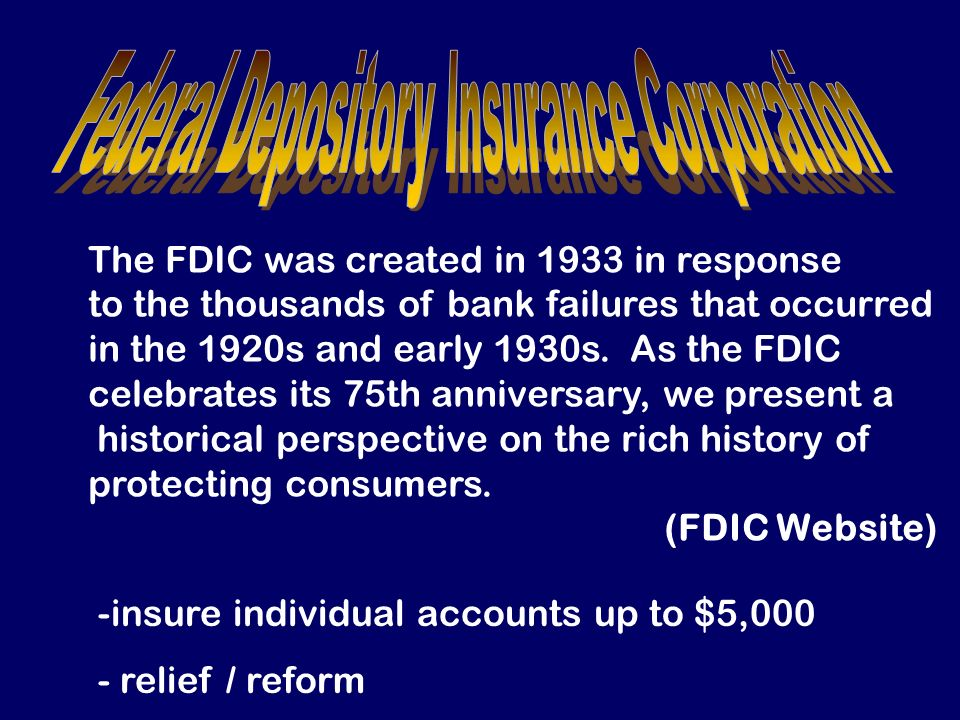Federal Depository Insurance Corporation