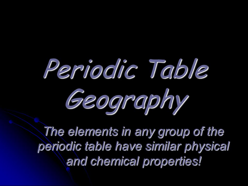Periodic Table Geography
