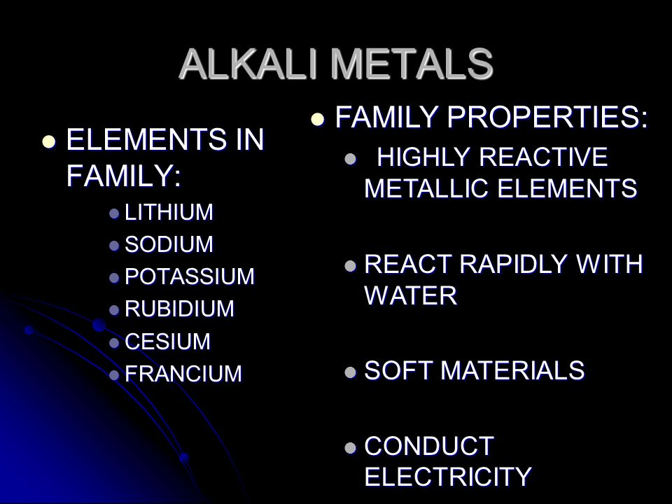 ALKALI METALS FAMILY PROPERTIES: ELEMENTS IN FAMILY: