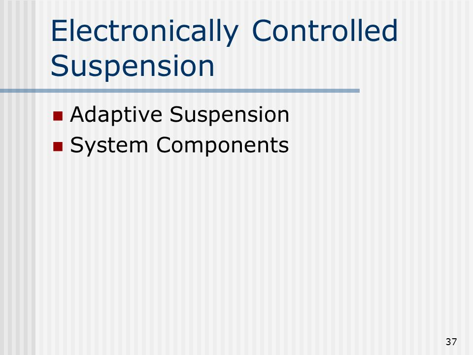 Electronically Controlled Suspension