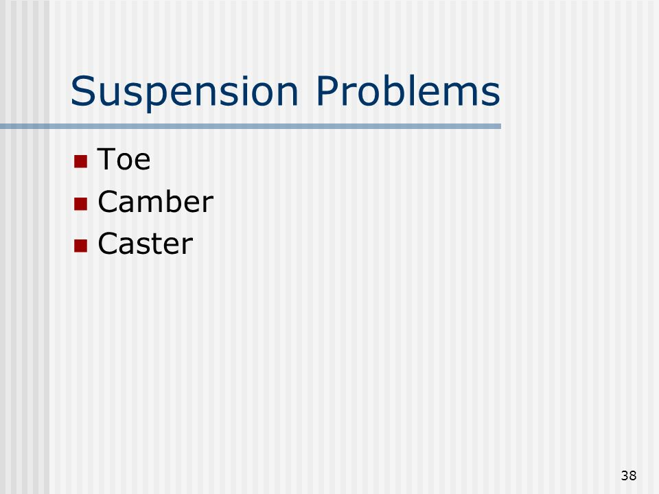 Suspension Problems Toe Camber Caster