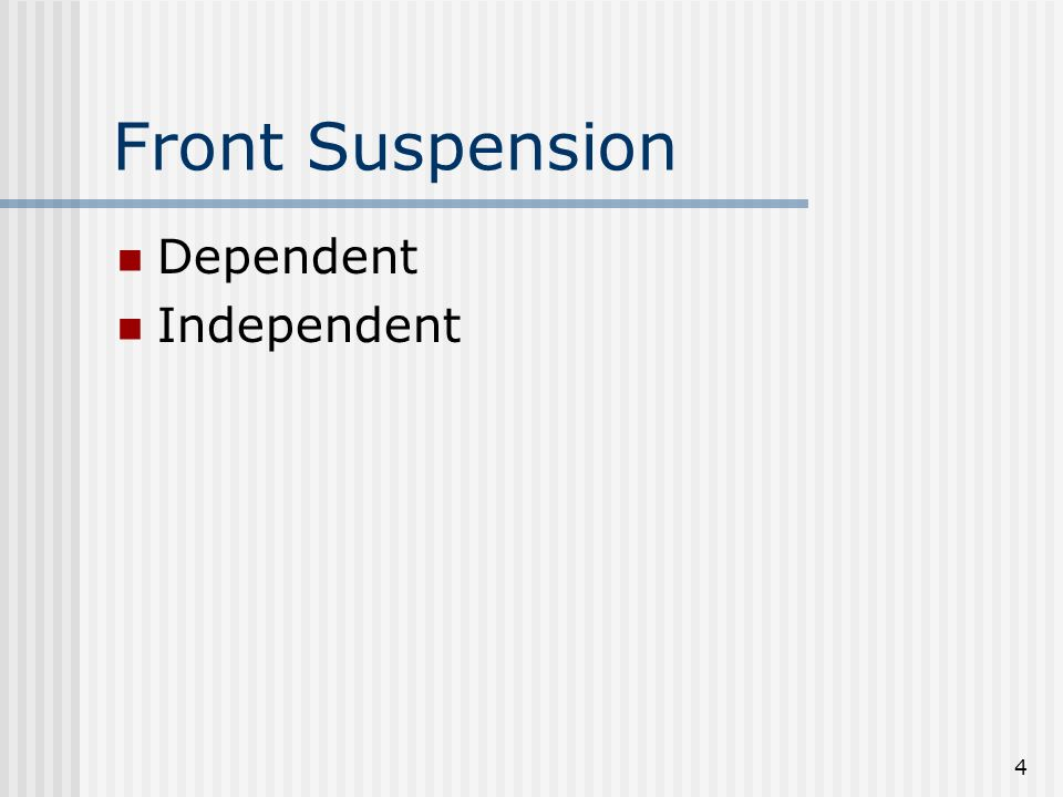 Front Suspension Dependent Independent