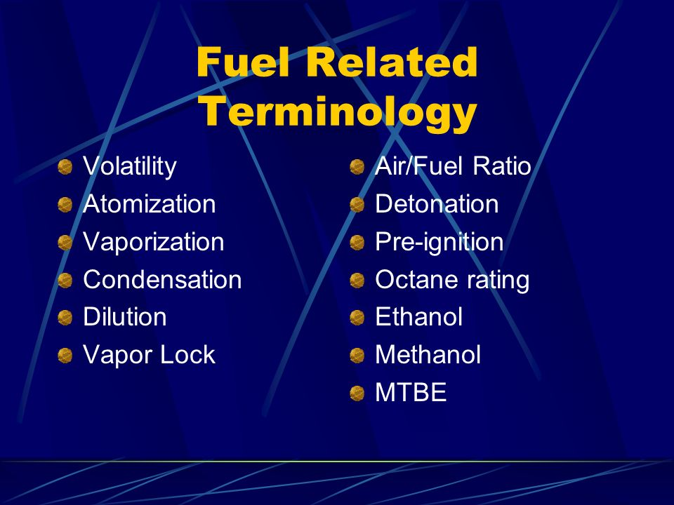 Fuel Related Terminology