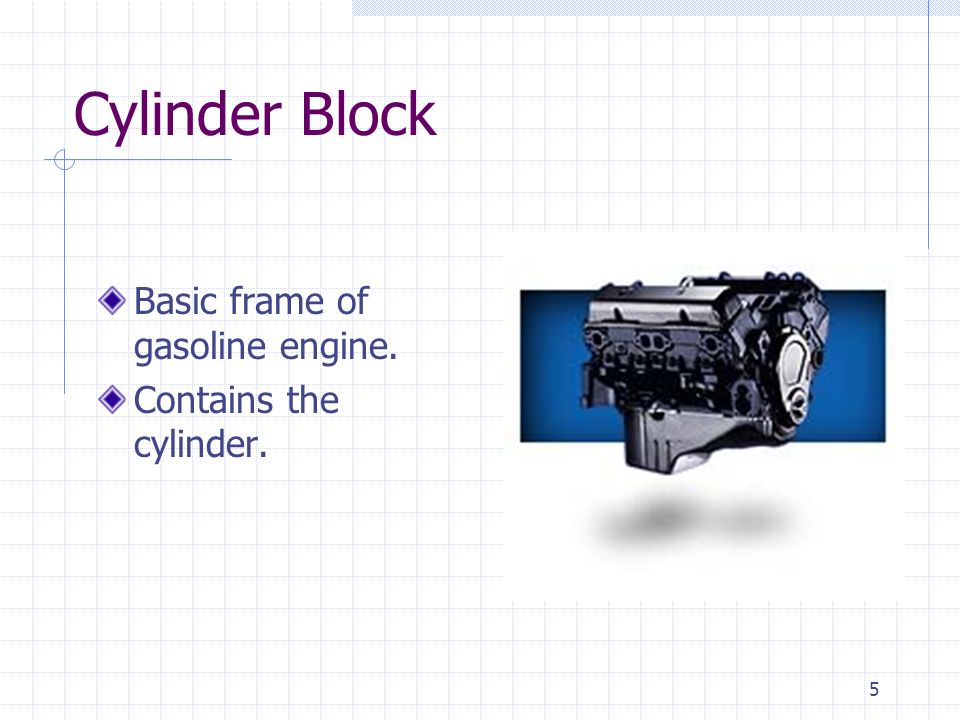 Cylinder Block Basic frame of gasoline engine. Contains the cylinder.