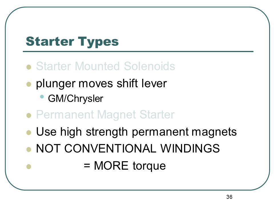Starter Types Starter Mounted Solenoids plunger moves shift lever