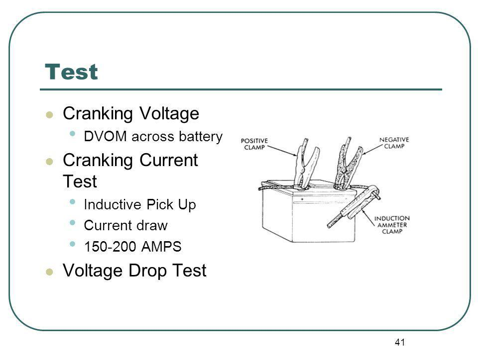 Test Cranking Voltage Cranking Current Test Voltage Drop Test