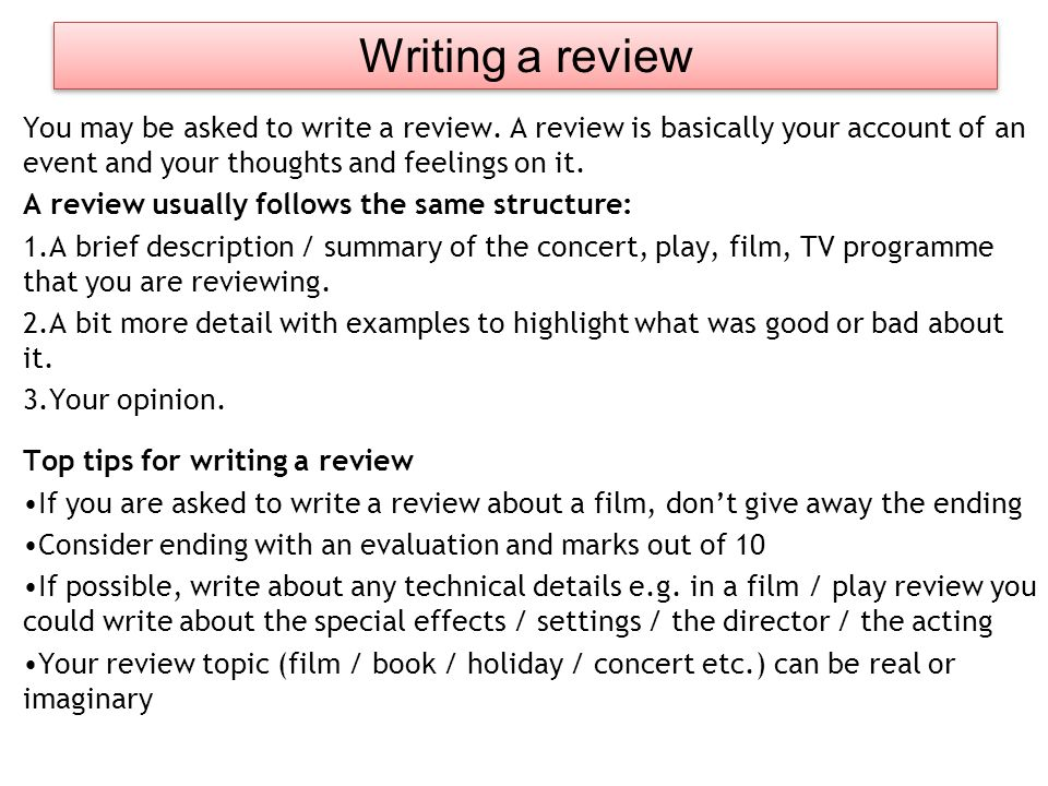 how to write a play review example