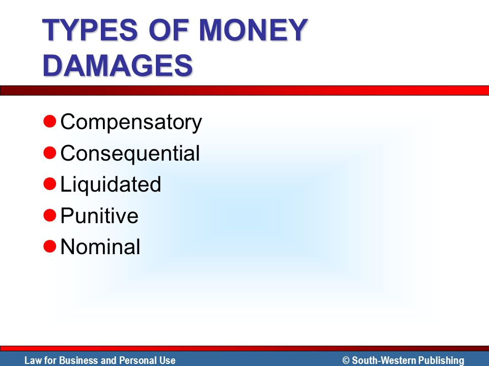 TYPES OF MONEY DAMAGES Compensatory Consequential Liquidated Punitive