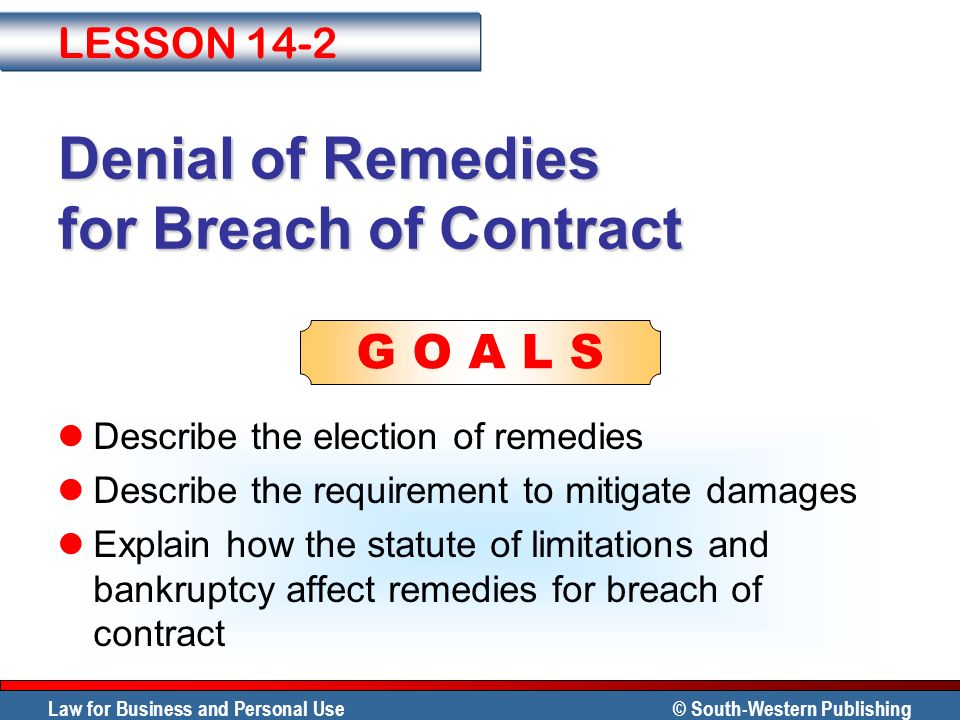 Denial of Remedies for Breach of Contract