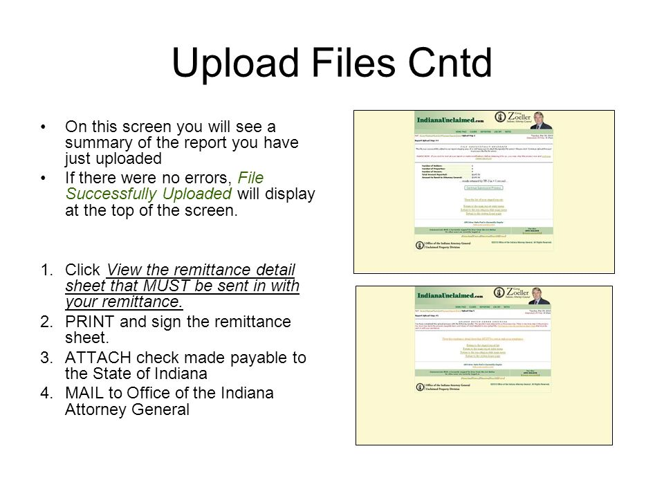 Upload Files Cntd On this screen you will see a summary of the report you have just uploaded.