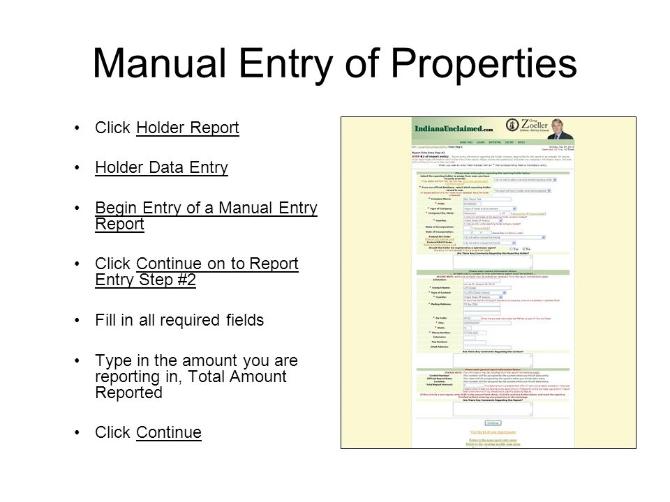 Manual Entry of Properties