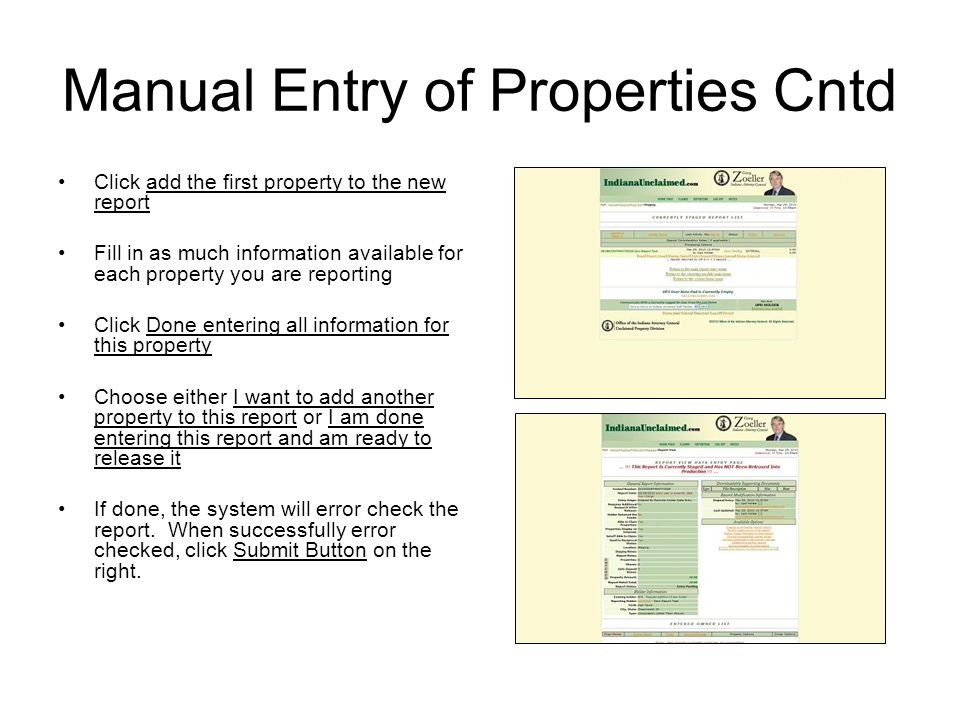 Manual Entry of Properties Cntd