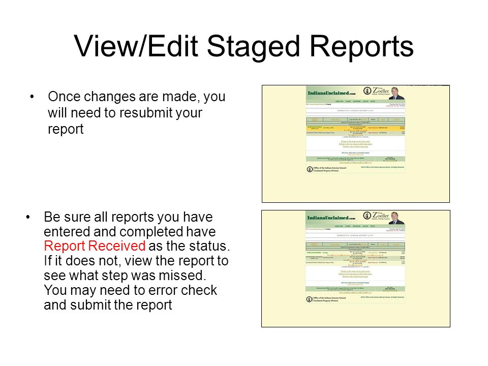 View/Edit Staged Reports