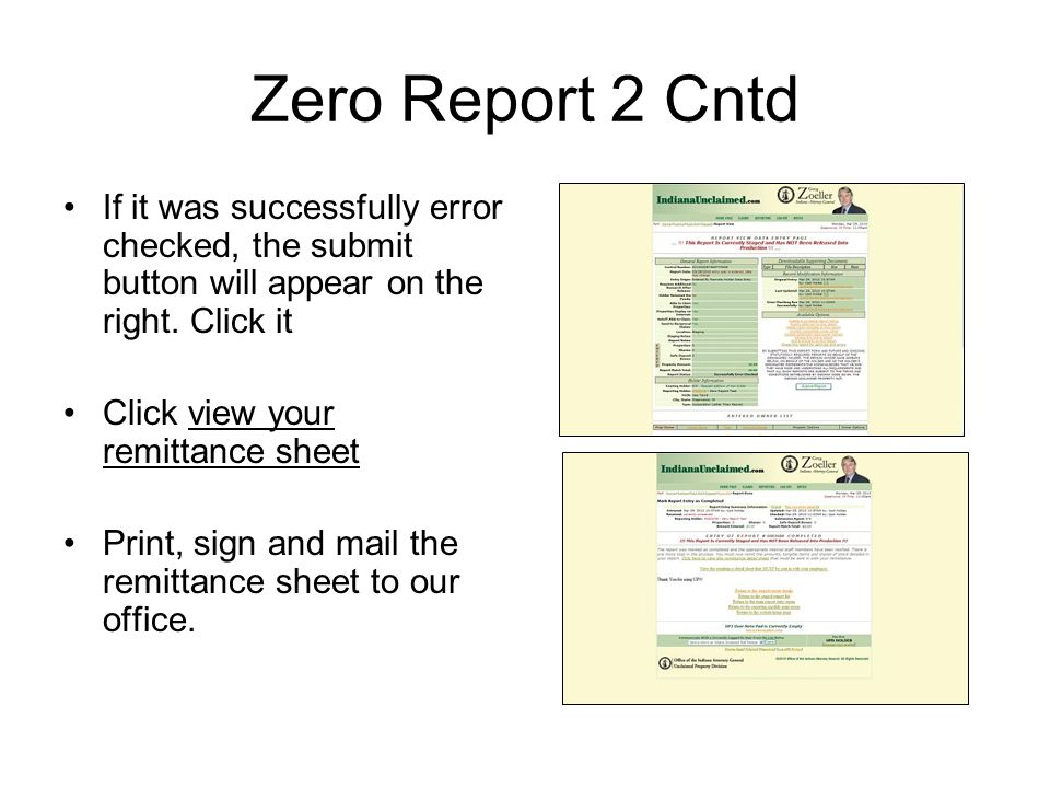 Zero Report 2 Cntd If it was successfully error checked, the submit button will appear on the right. Click it.