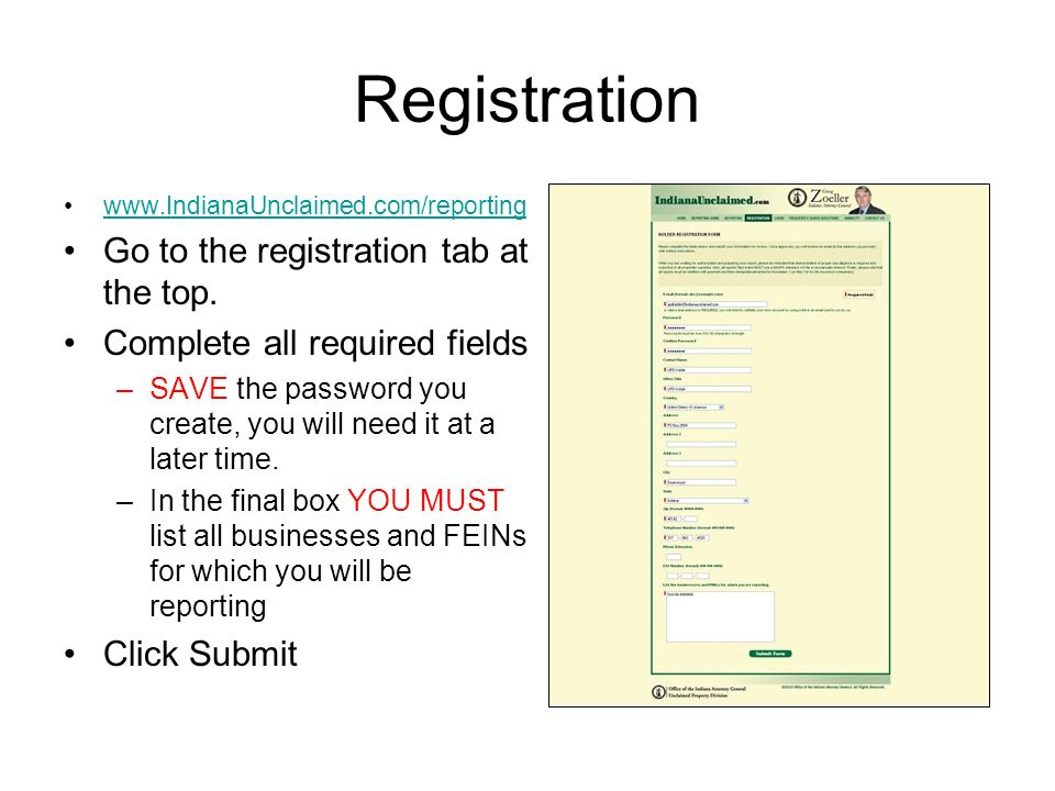 Registration Go to the registration tab at the top.