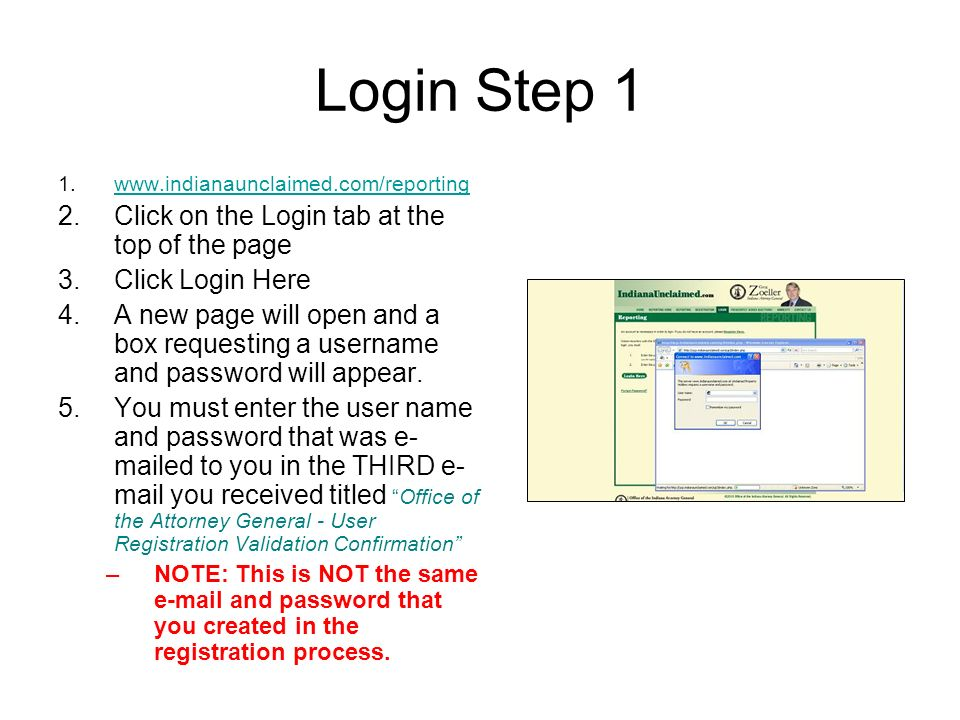 Login Step 1 Click on the Login tab at the top of the page