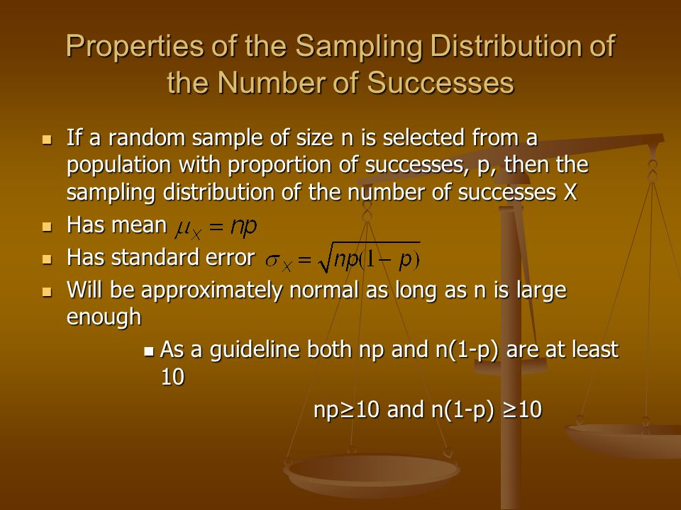 Properties of the Sampling Distribution of the Number of Successes
