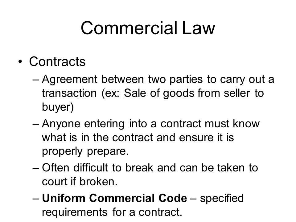 Commercial Law Contracts