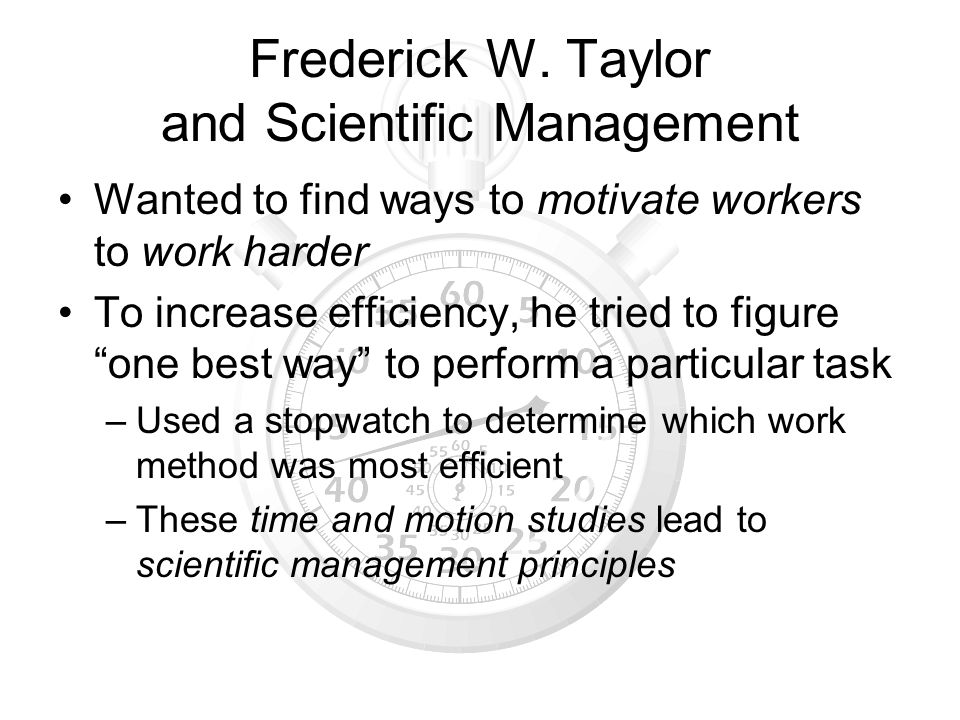 Frederick W. Taylor and Scientific Management