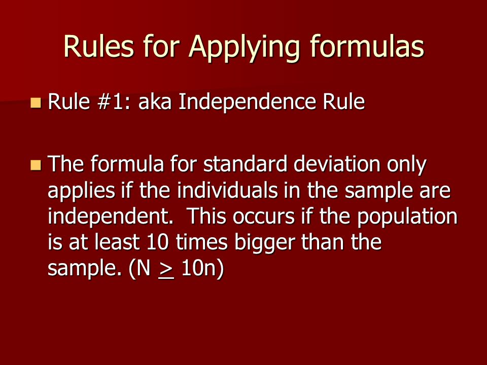Rules for Applying formulas
