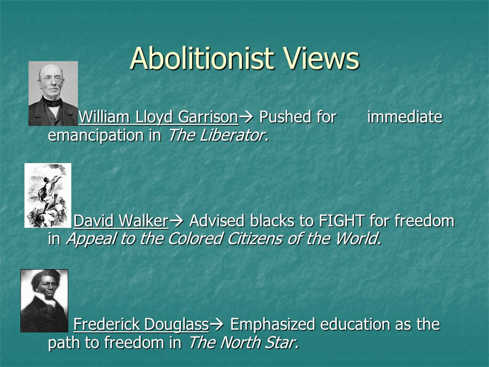Abolitionist Views William Lloyd Garrison Pushed for immediate emancipation in The Liberator.