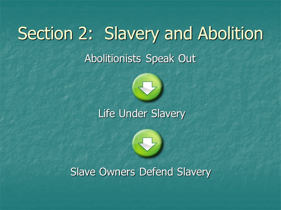Section 2: Slavery and Abolition