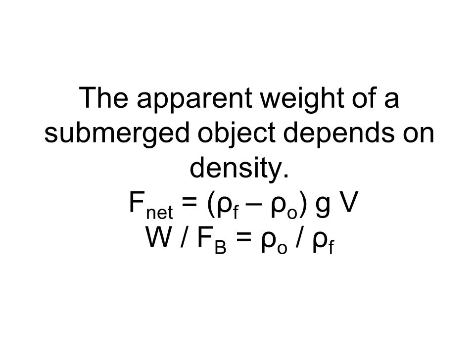 The apparent weight of a submerged object depends on density