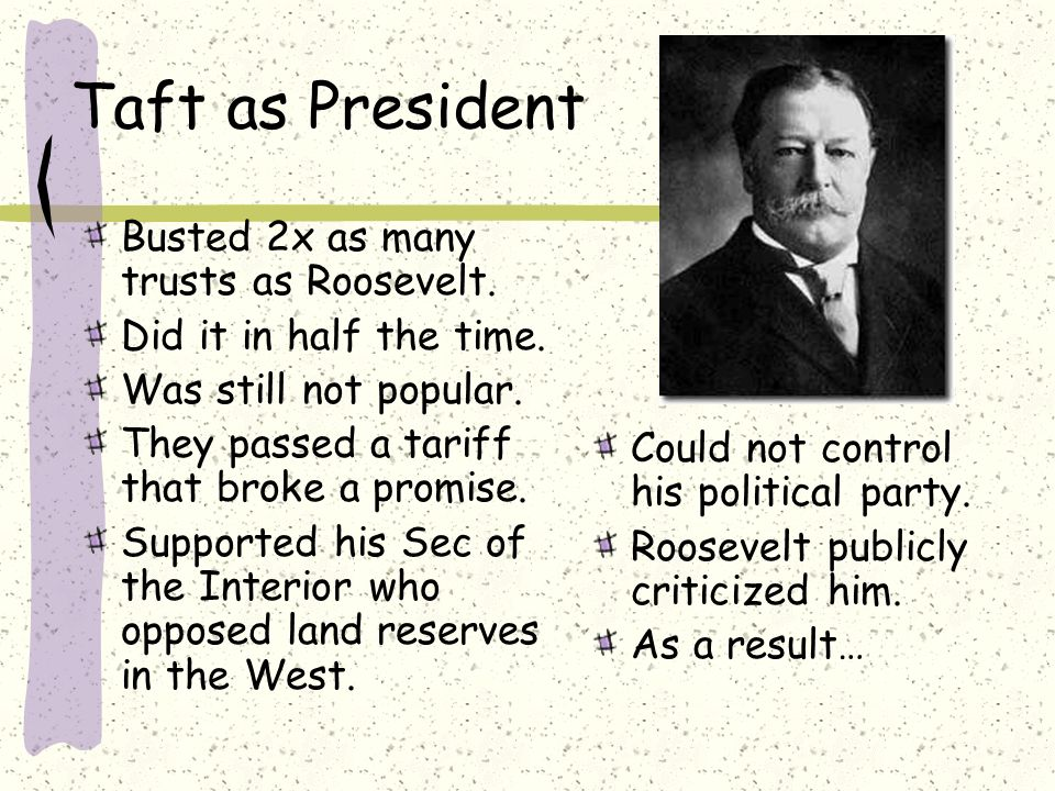 Taft as President Busted 2x as many trusts as Roosevelt.
