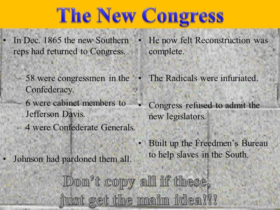 The New Congress Don't copy all if these, just get the main idea!!!