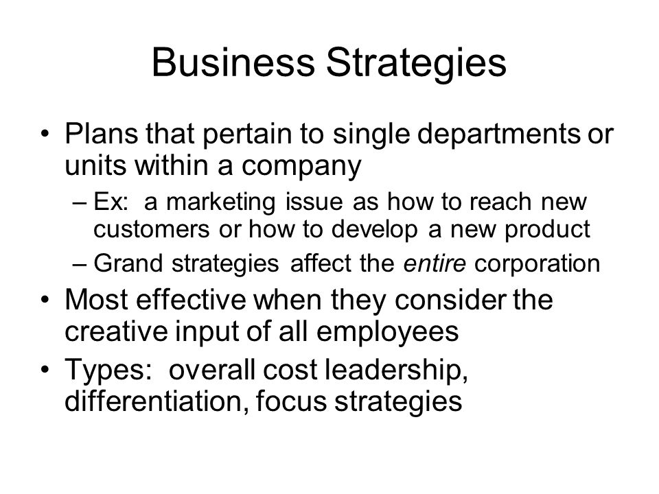 Business Strategies Plans that pertain to single departments or units within a company.