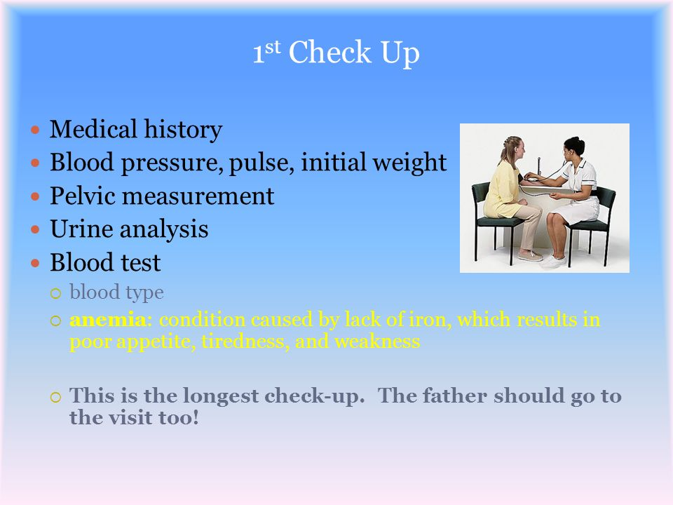 1st Check Up Medical history Blood pressure, pulse, initial weight