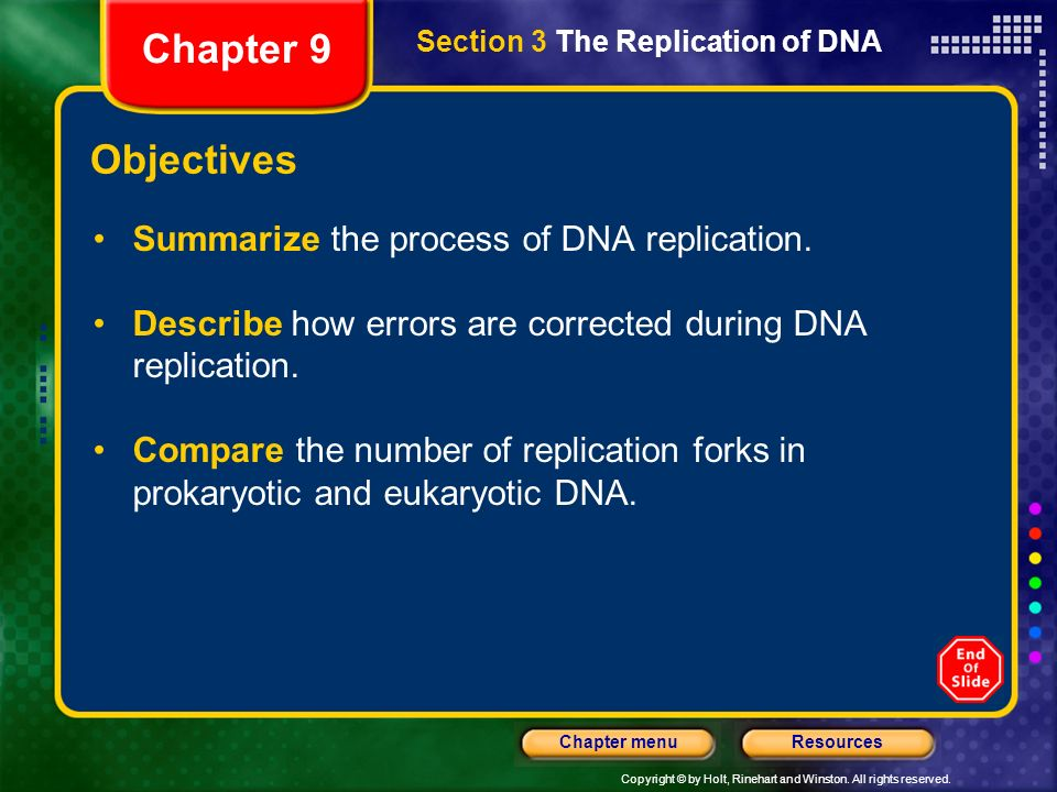 Chapter 9 Objectives Summarize the process of DNA replication.