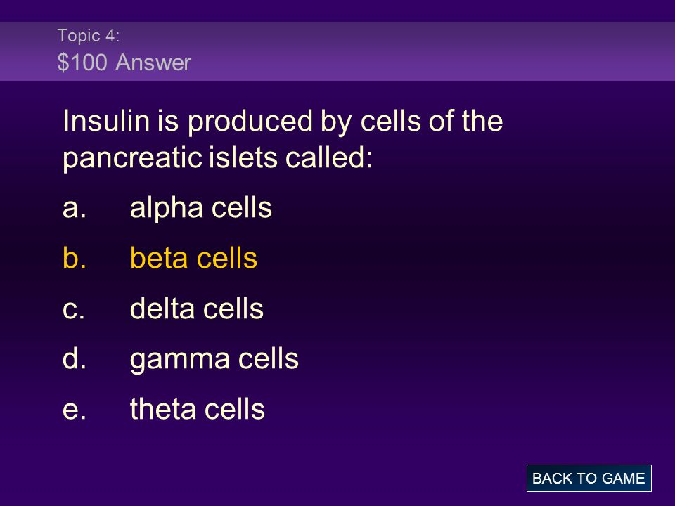 Insulin is produced by cells of the pancreatic islets called: