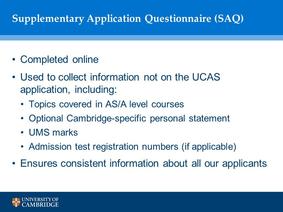 cambridge saq optional personal statement