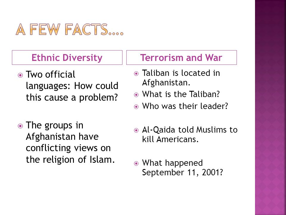 A few facts…. Ethnic Diversity Terrorism and War