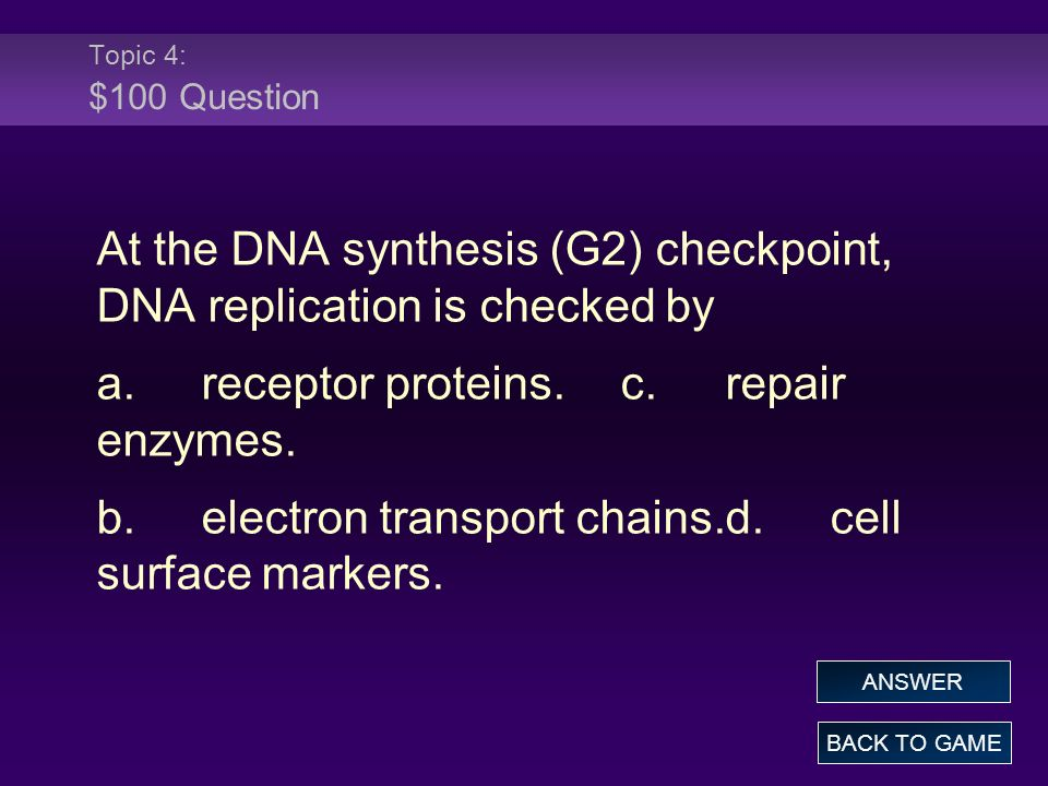 At the DNA synthesis (G2) checkpoint, DNA replication is checked by