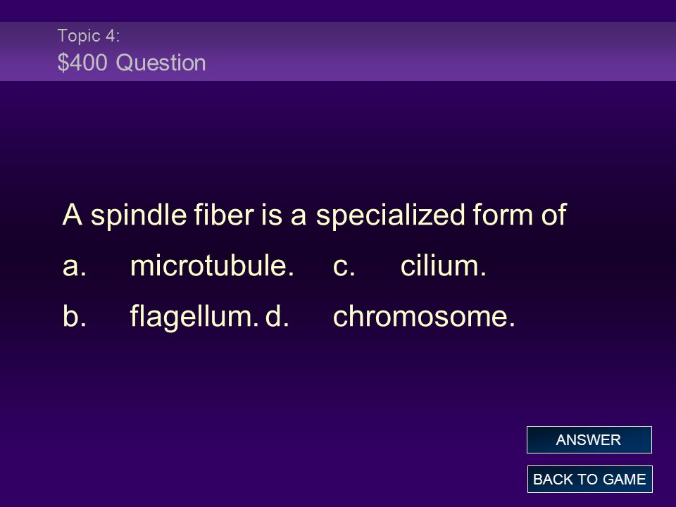 A spindle fiber is a specialized form of a. microtubule. c. cilium.