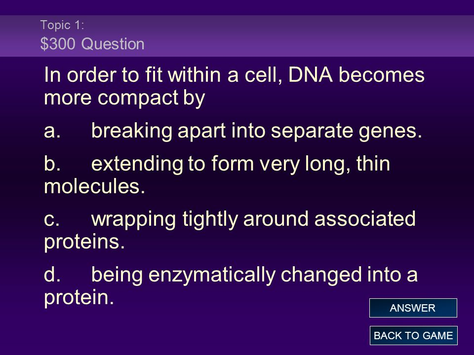 In order to fit within a cell, DNA becomes more compact by