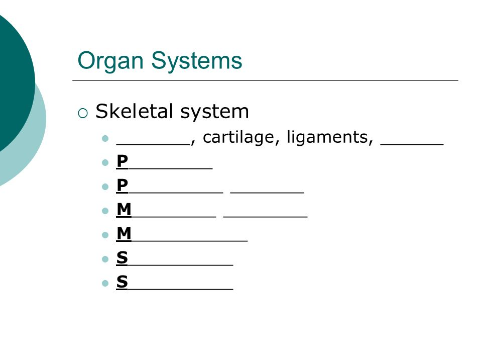 Organ Systems Skeletal system _______, cartilage, ligaments, ______