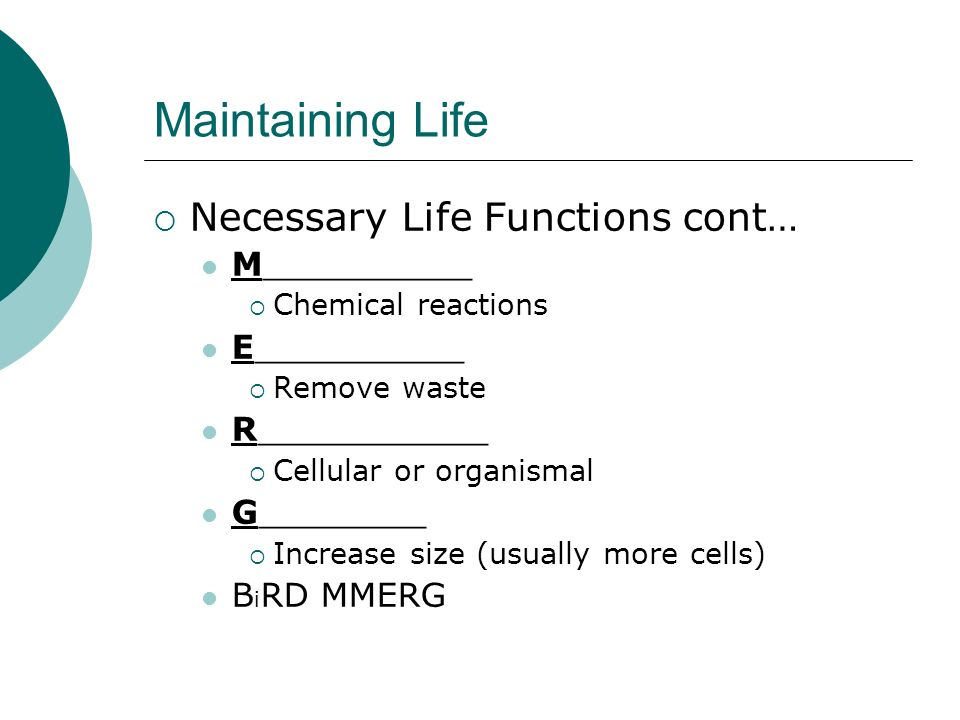 Maintaining Life Necessary Life Functions cont… M__________