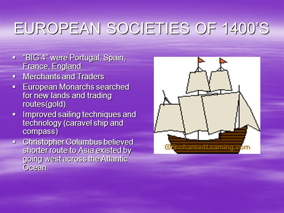 EUROPEAN SOCIETIES OF 1400'S