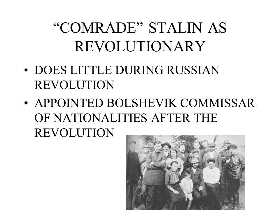 COMRADE STALIN AS REVOLUTIONARY