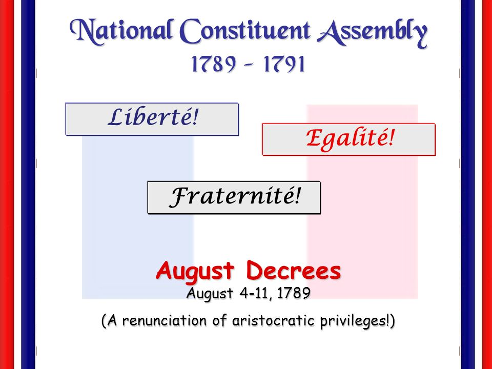 National Constituent Assembly 1789 - 1791